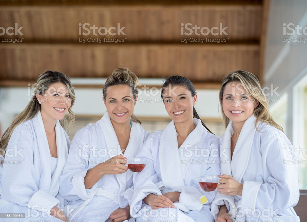 Group of women at the spa stock photo