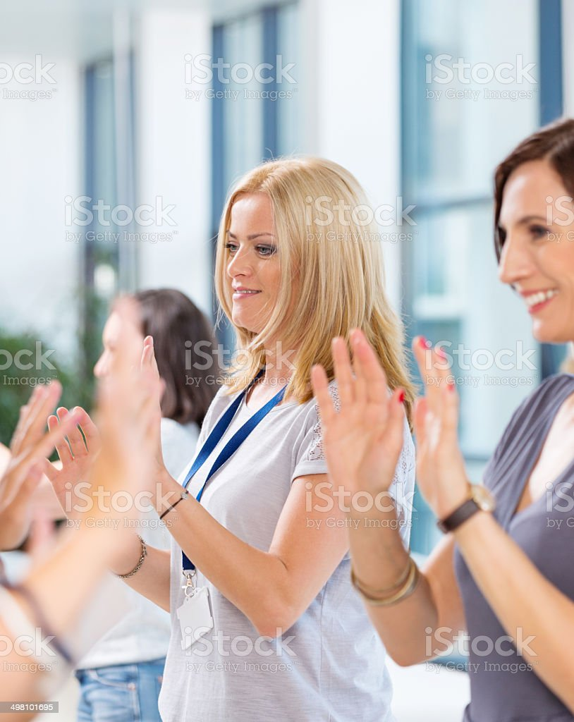 Group of women at the training Group of women attending a training, playing together.  30-39 Years Stock Photo
