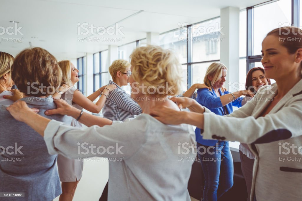 Group of women at the training Women's team. Group of women at the training Adult Stock Photo