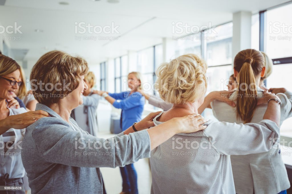 Group of women at the training Women's team. Group of women at the training. Adult Stock Photo