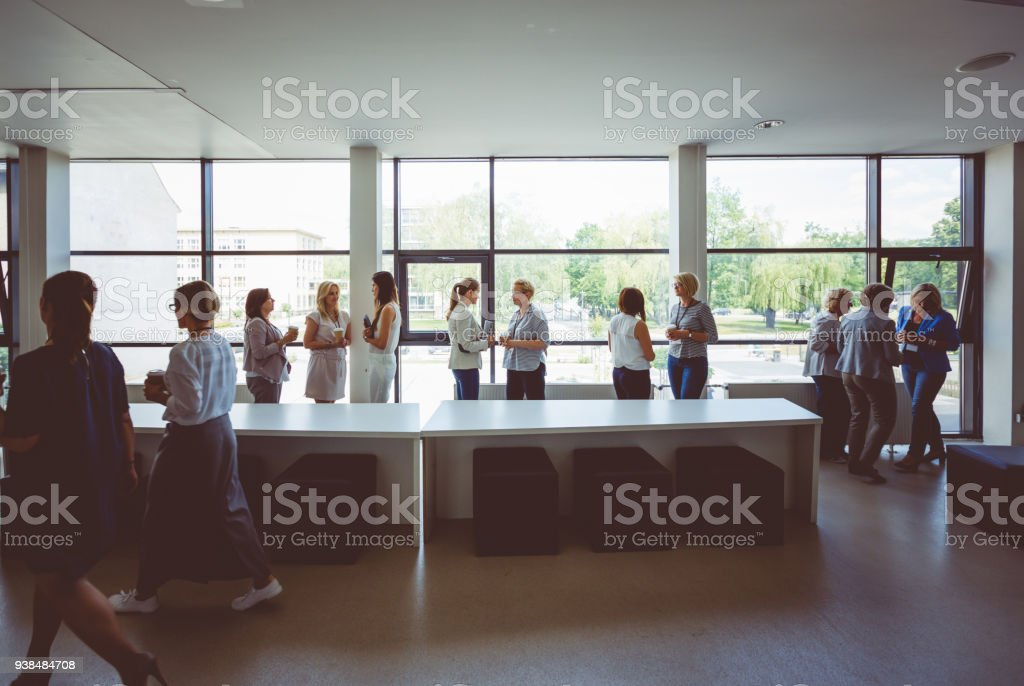 Group of women discussing during coffee break on seminar Women at conference. Group of women discussing during coffee break. Wide angle view. Adult Stock Photo