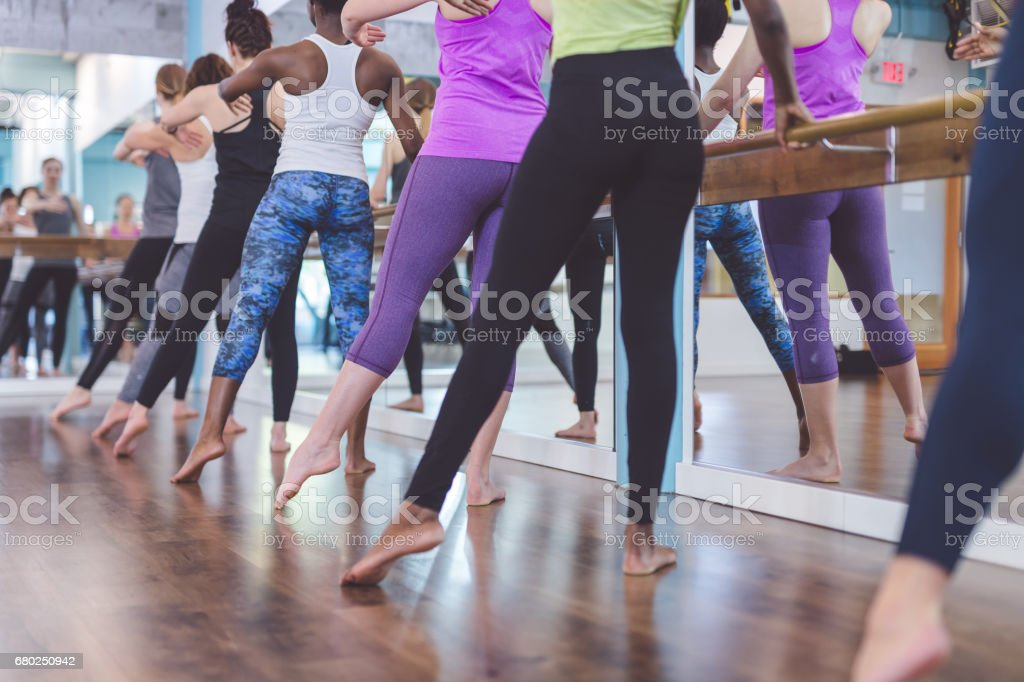 Group of Women Doing Barre  Workout stock photo