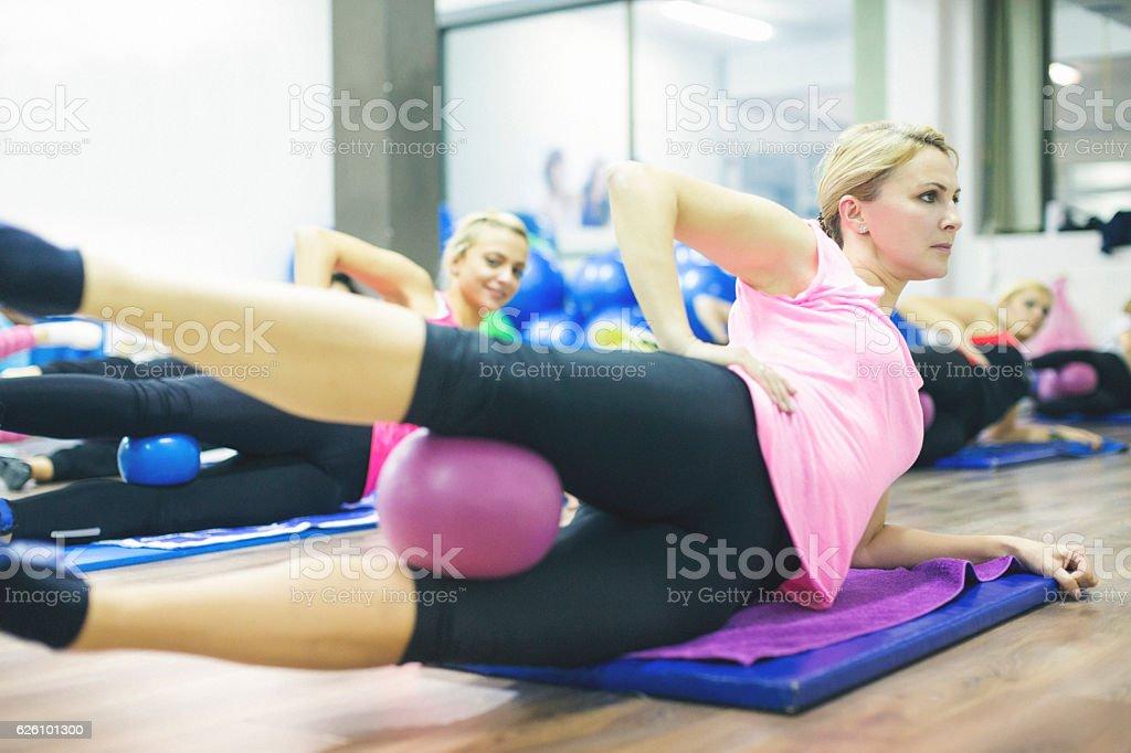 Group of women exercising pilates stock photo