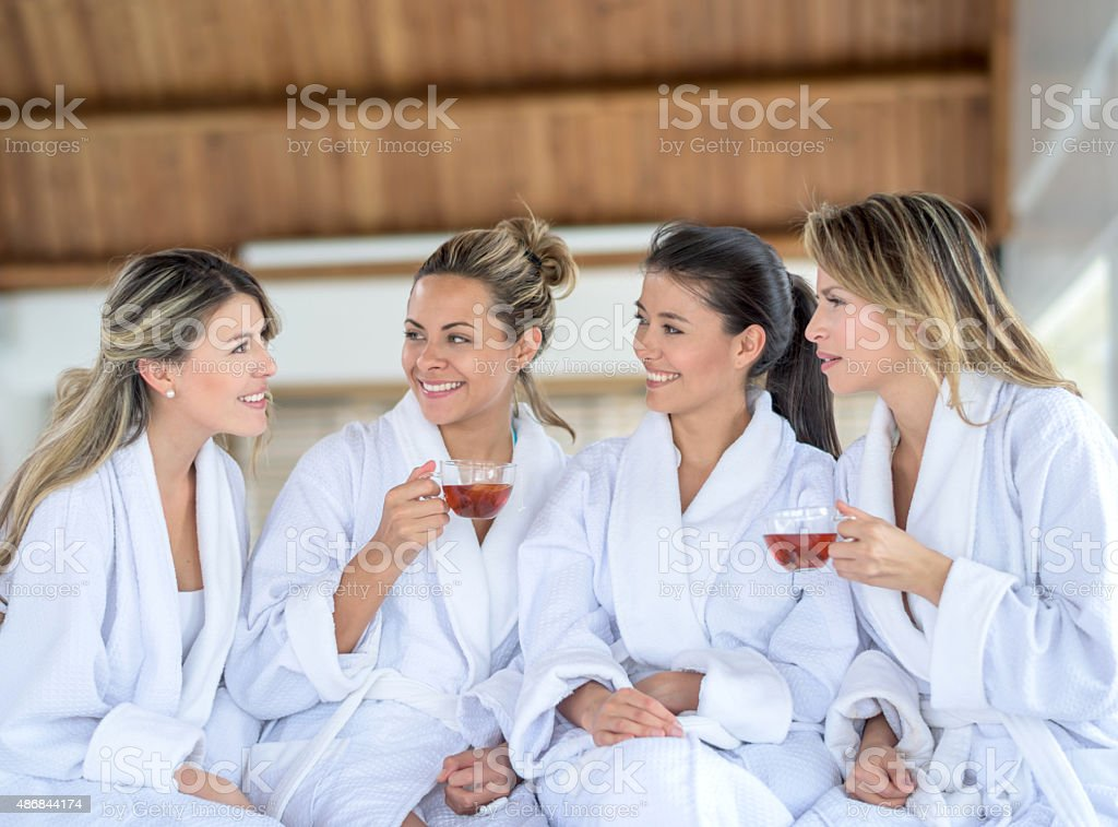 Group of women gossiping at the spa stock photo