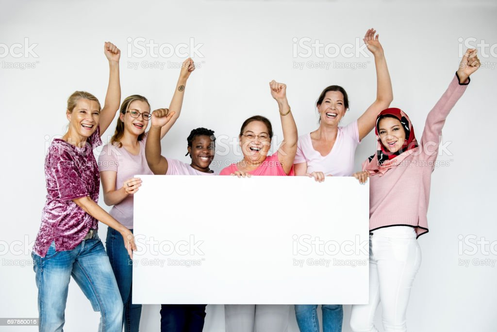 Group of women holding empty board for advertising stock photo