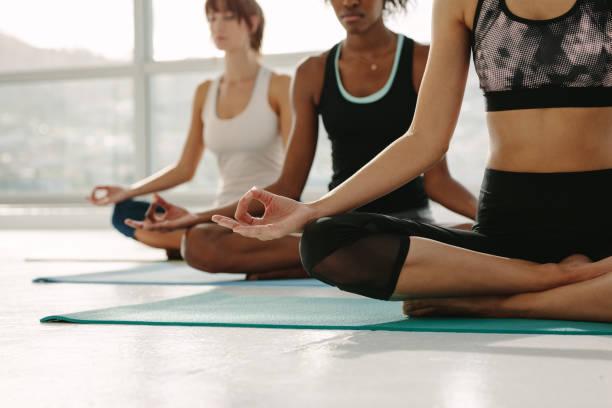 Group of women meditating in Padmasana yoga stock photo