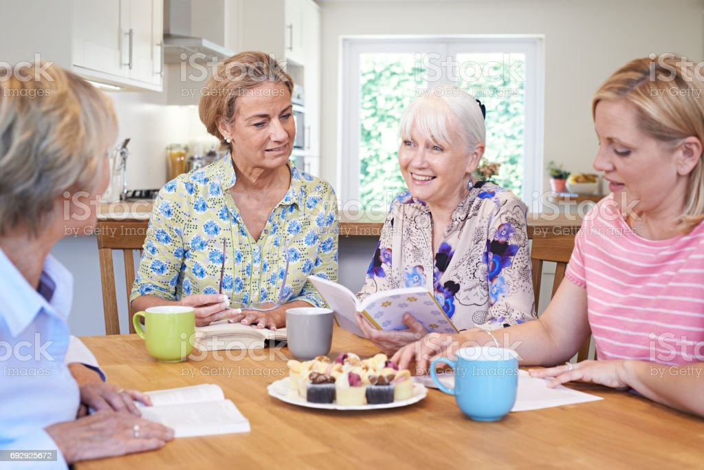 Group Of Women Meeting For Book Group stock photo