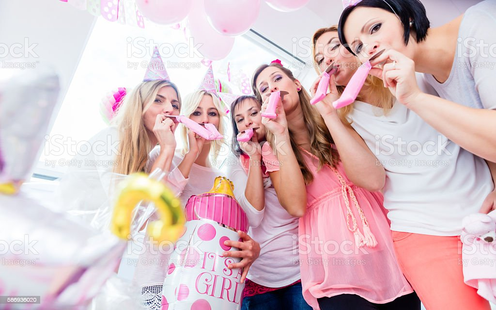 Group of women on baby shower party having fun - foto stock