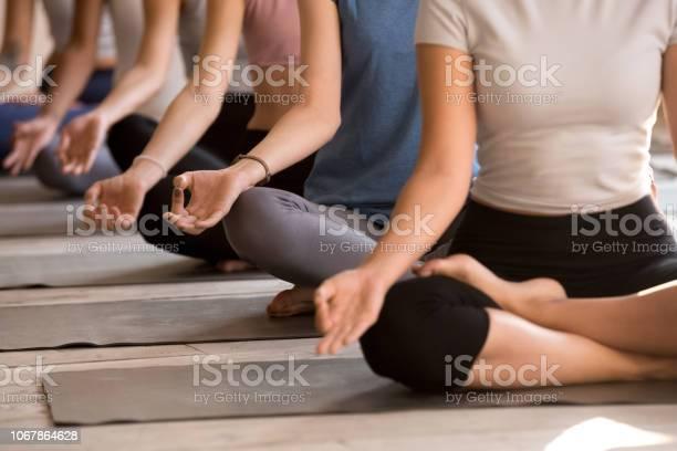 Gruppe Von Frauen Praktizieren Yoga In Leicht Sitz Nahaufnahme Stockfoto und mehr Bilder von Frauen