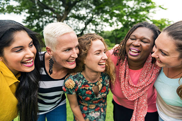 Group of Women Socialize Teamwork Happiness Concept stock photo