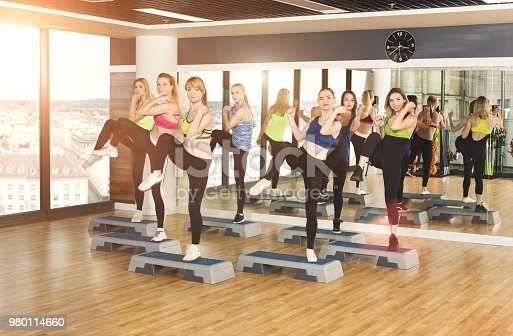 istock Group of women, step aerobics in fitness club 980114660