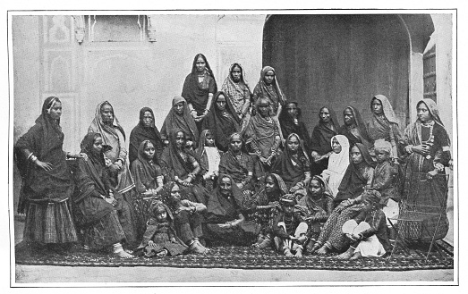 Group of Women teachers in Agra, India during the british era. Vintage halftone circa late 19th century.
