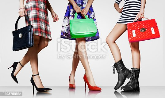 636803682 istock photo Group of women with fashion bags and shoes. 1193759534