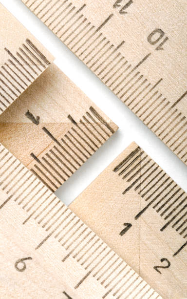 Group of wooden rulers stock photo