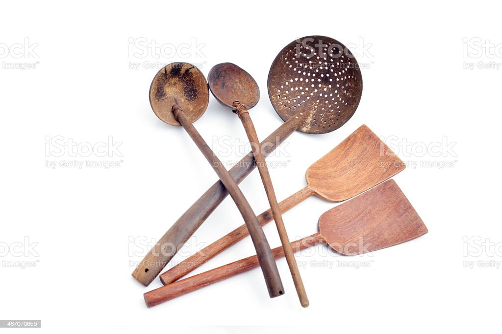Group of wooden spoon stock photo