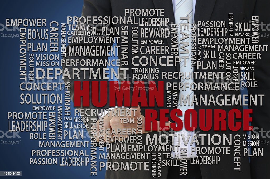 Group of words about Human Resources with a man in the back royalty-free stock photo