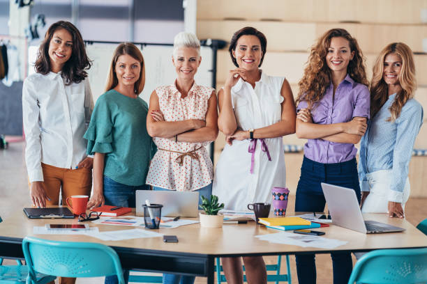 Group of working women in the office stock photo