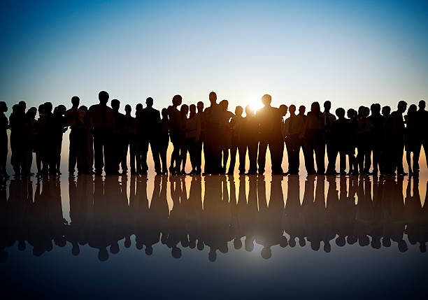 Group of World Business People in Back Lit stock photo