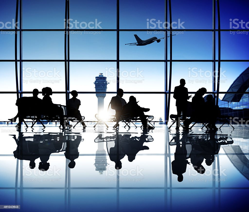 Group of World Business People in the Airport royalty-free stock photo