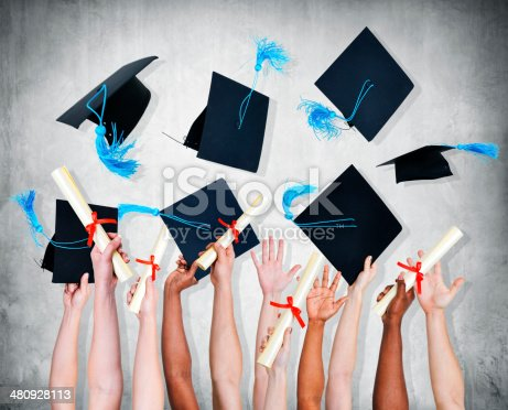 istock Group of World Graduated Student Throwing Mortarboard 480928113