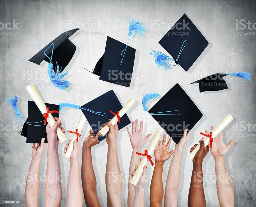 Group of World Graduated Student Throwing Mortarboard stock photo