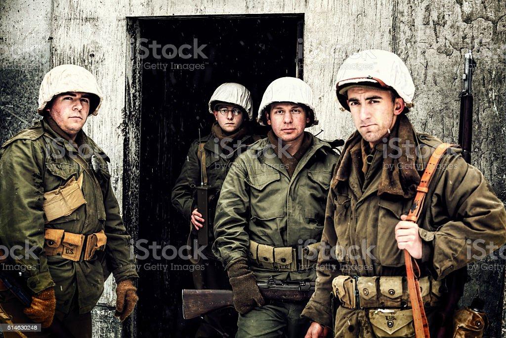Eine Gruppe von Soldaten des Zweiten Weltkriegs Winter – Foto