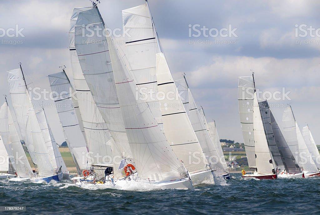 group of yacht sailing at regatta stock photo