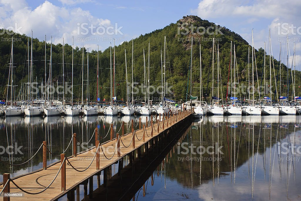 Group of yachts stock photo
