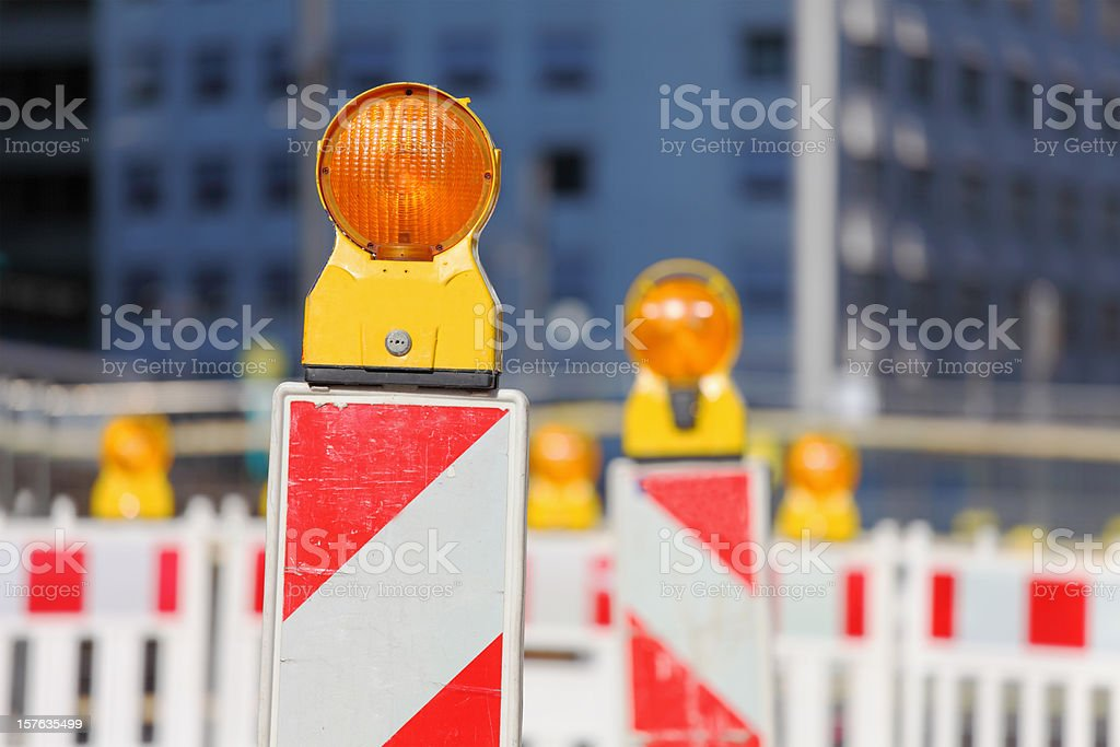 group of yellow orange traffic warning lamps royalty-free stock photo