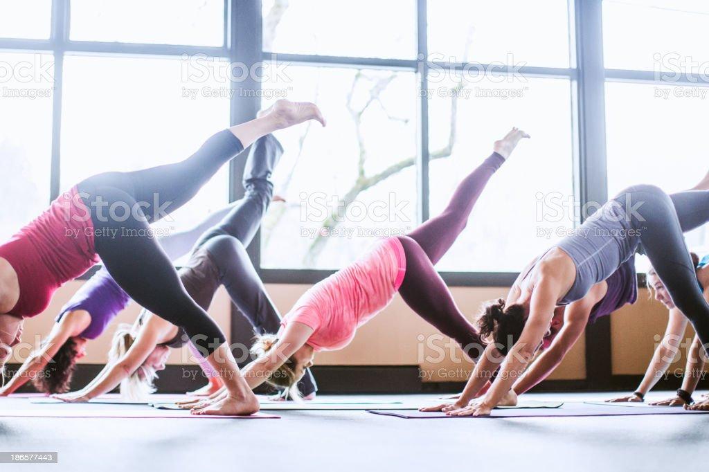 Group of yoga students in studio stock photo