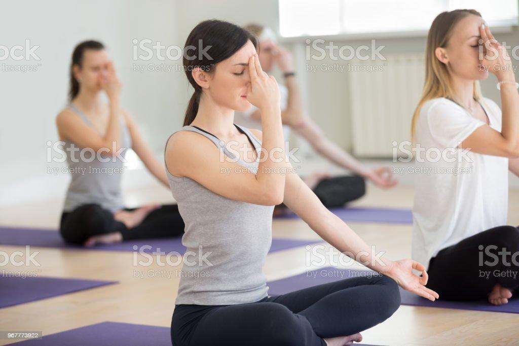 Group of yogi people in nadi shodhana pranayama pose stock photo