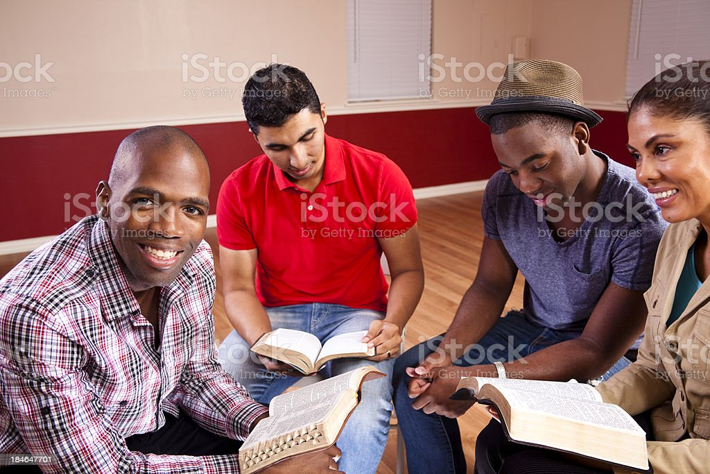 Group of young adult friends in Bible study. Church. Christianity. royalty-free stock photo