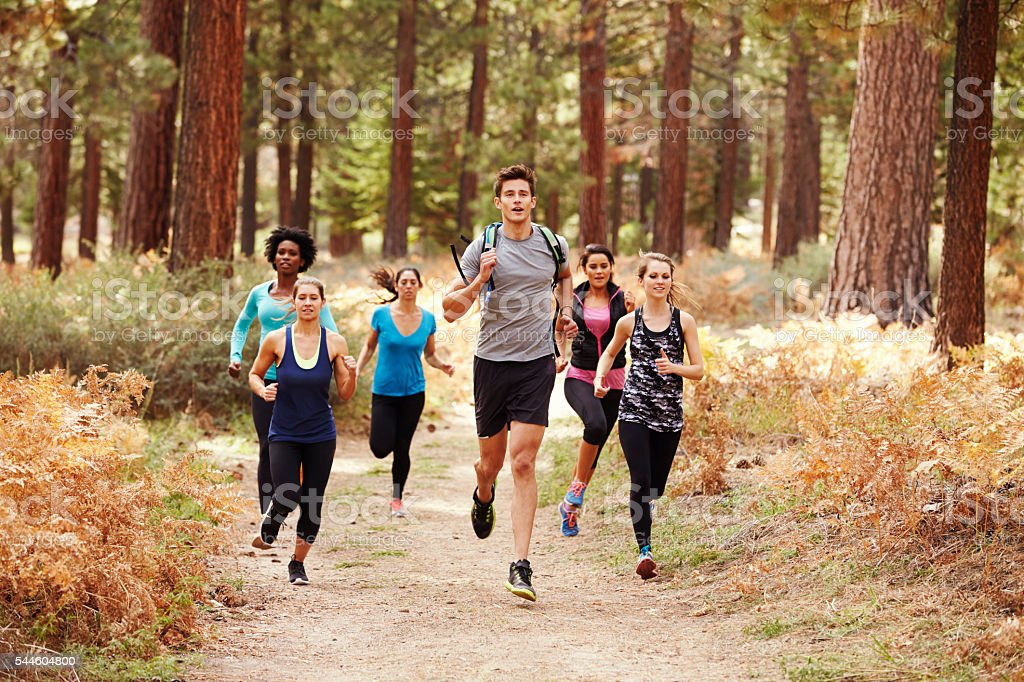 Group of young adult friends running in a forest stock photo