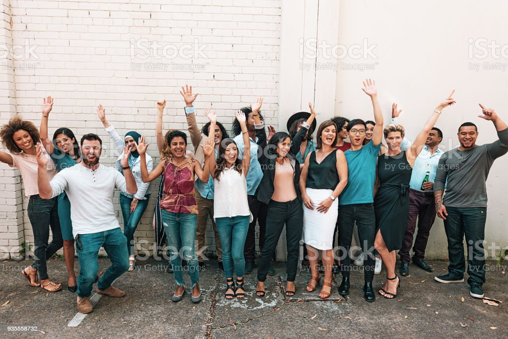 Group of young and mature multi ethnic people stock photo