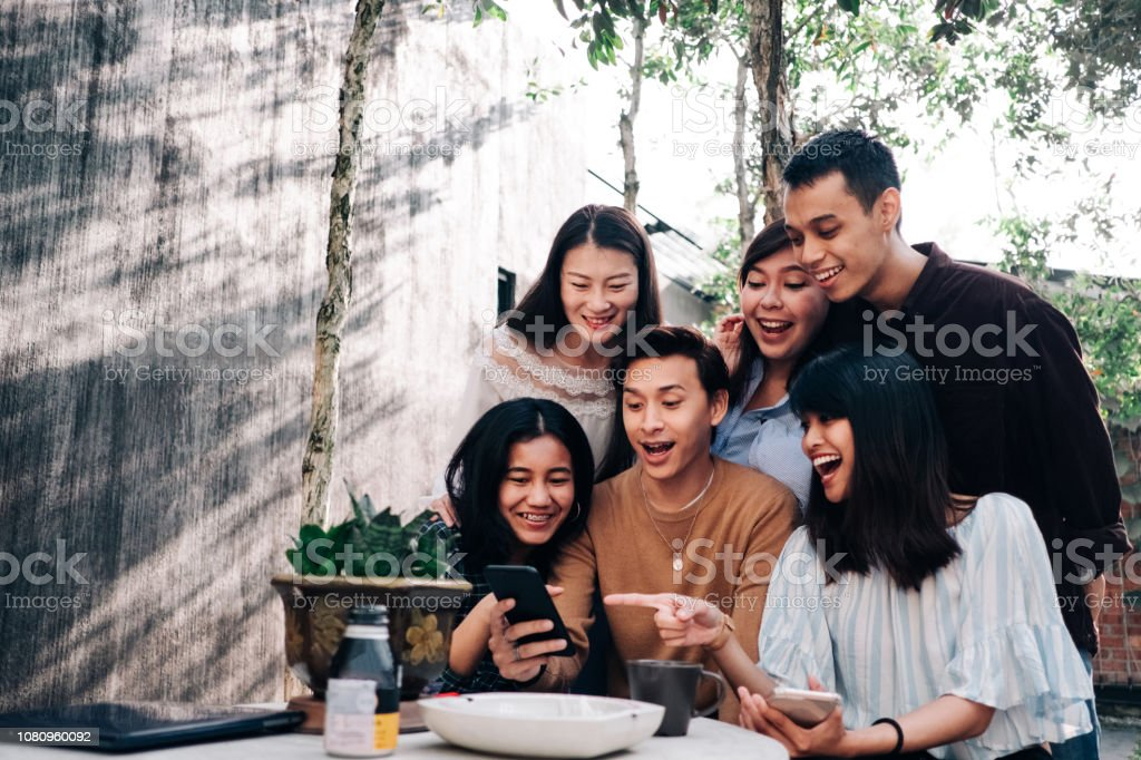 Group of Young Asian People with Smartphone Lifestyle technology Asia Stock Photo