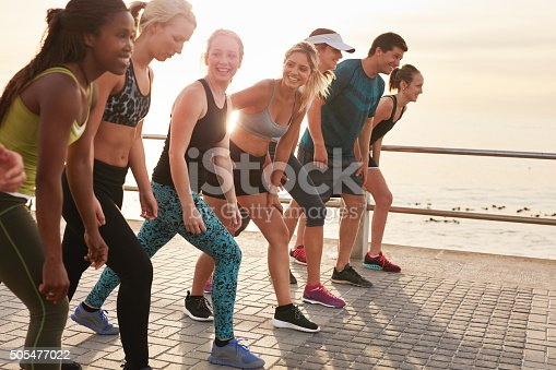 istock Group of young athletes in start position 505477022