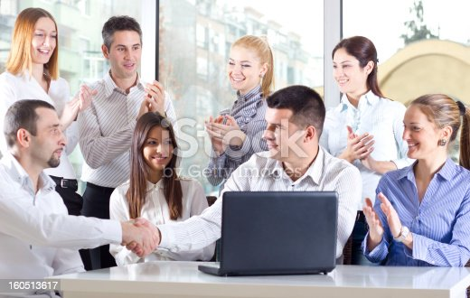 639200924 istock photo Group of young business people working in the office 160513617