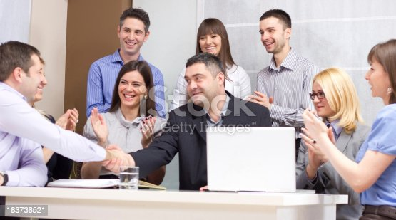 639200924 istock photo Group of young business people working in the office 163736521