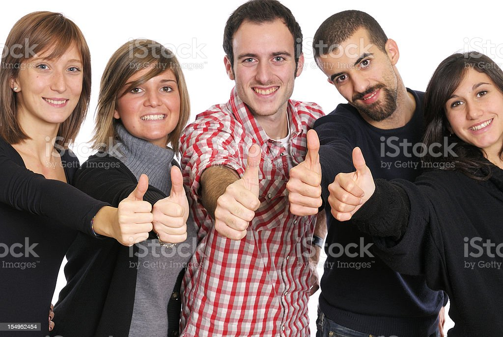 Group of Young Business Persons Giving Thumbs Up royalty-free stock photo