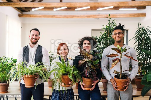 Group of young businesspeople standing in office, holding plants and looking at camera.