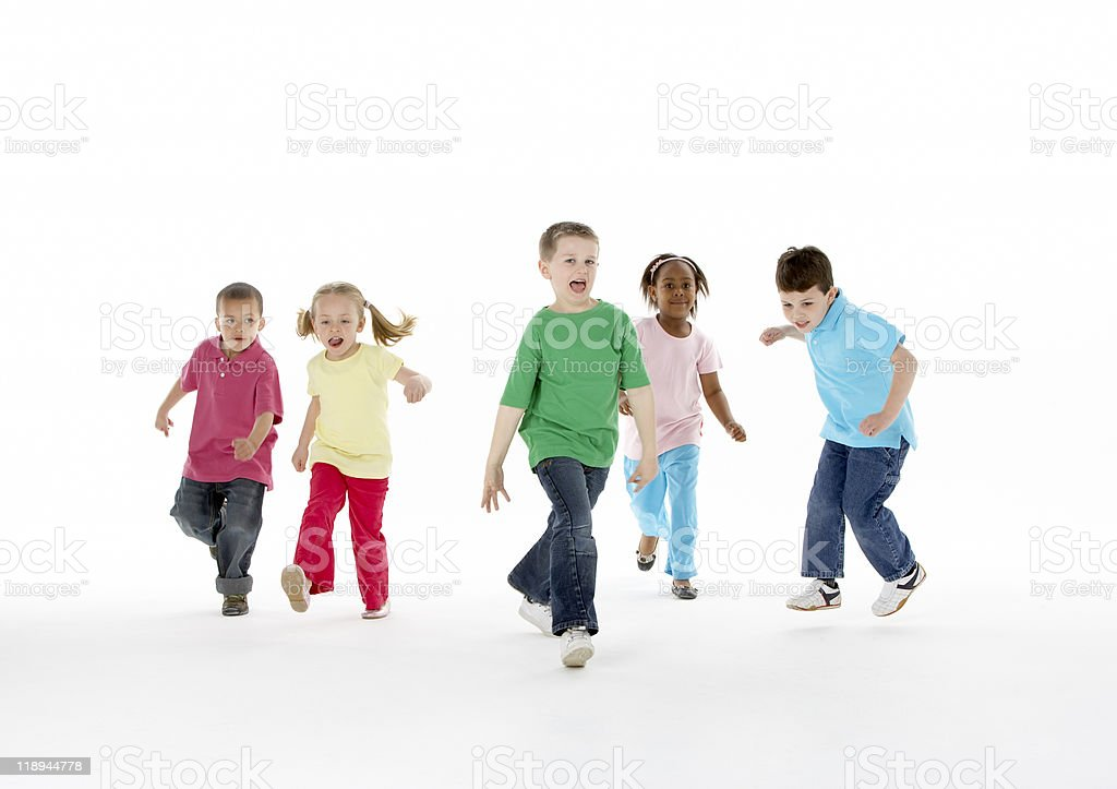 Group Of Young Children In Studio stock photo