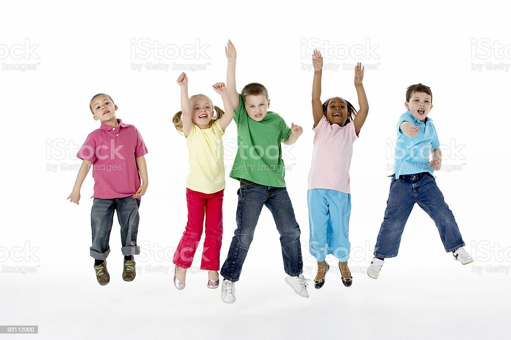 Group of young children jumping up and down stock photo