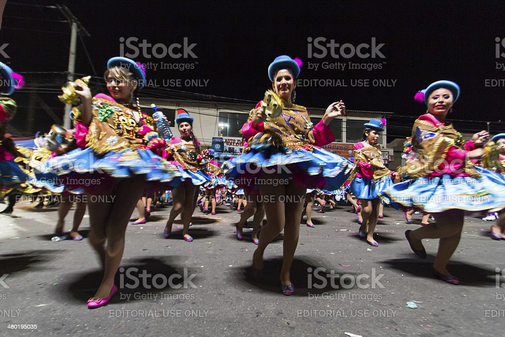 Group Of Young Female Bolivian Dancers At La Paz Festival