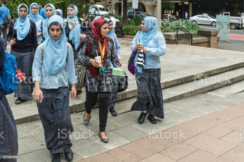 Group of young female Muslim women, Sidney Australia. stock photo