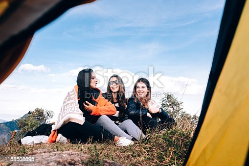 Group of young friends camping on the mountain
