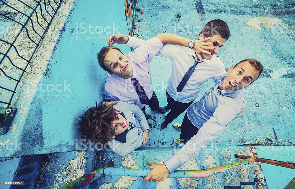 Group of young friends making funny faces stock photo