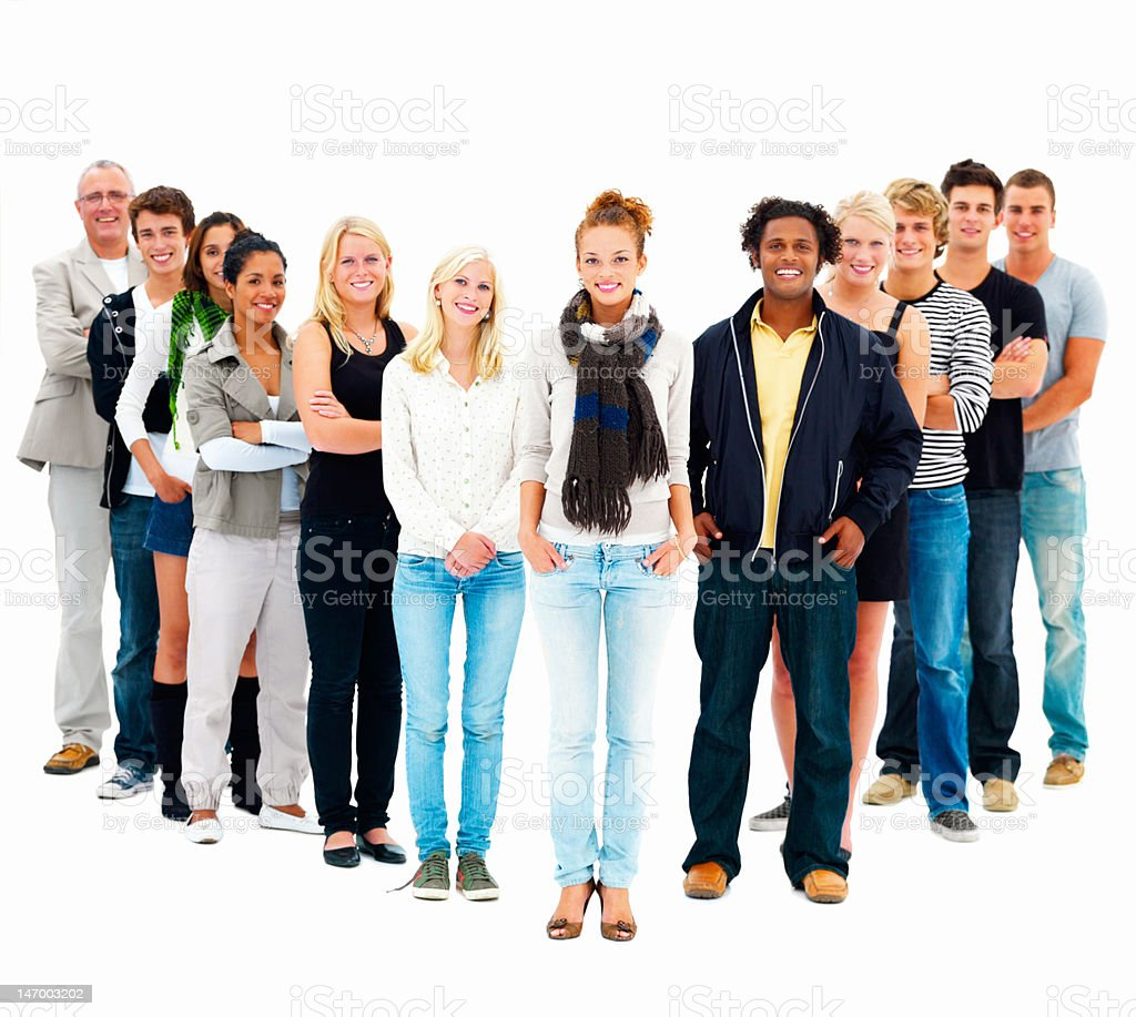 Group of young friends standing against white background stock photo