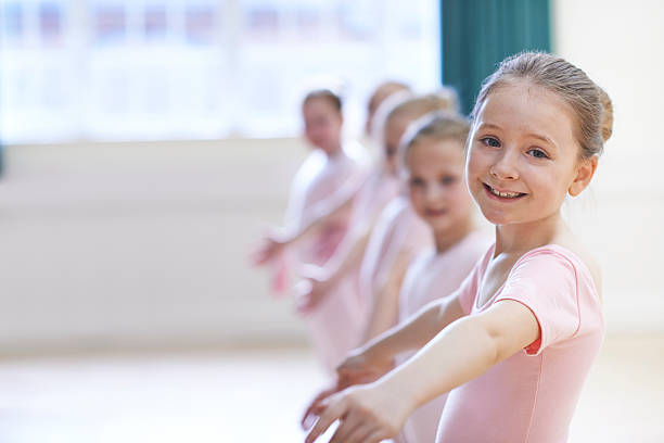 Group Of Young Girls In Ballet Dancing Class Group Of Young Girls In Ballet Dancing Class dance studio stock pictures, royalty-free photos & images