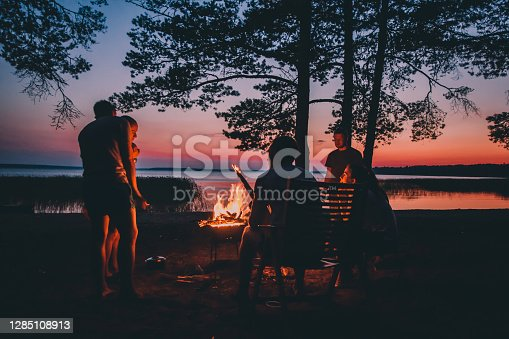 Group of young people near camp fire telling stories near the fire with wood, flames in the nature at night near lake.