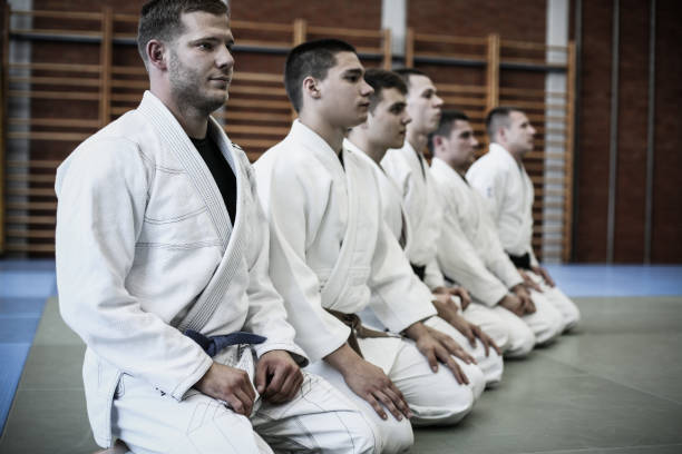 group of young men at sports class. - martial arts stock photos and pictures